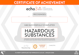 HAZARDOUS SUBSTANCES CERTIFICATE