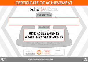 RISK ASSESSMENT Certificate