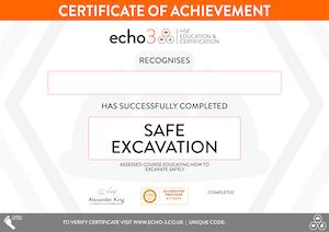 SAFE EXCAVATION CERTIFICATE