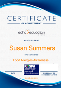 Food Allergen Certificate