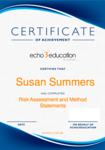 Risk Assessment Certificate