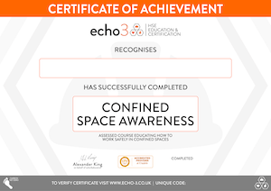 CONFINED SPACES CERTIFICATE