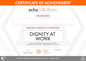 DIGNITY AT WORK CERTIFICATE