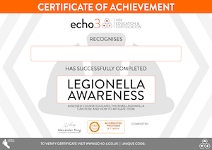 LEGIONELLA AWARENESS CERTIFICATE