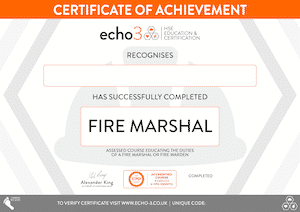 FIRE MARSHAL CERTIFICATE